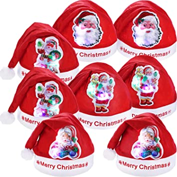 288ffb4814e 8 Pieces Christmas Hats LED Santa Hat Santa Claus Hat for Christmas Party  Favors (Adult Size