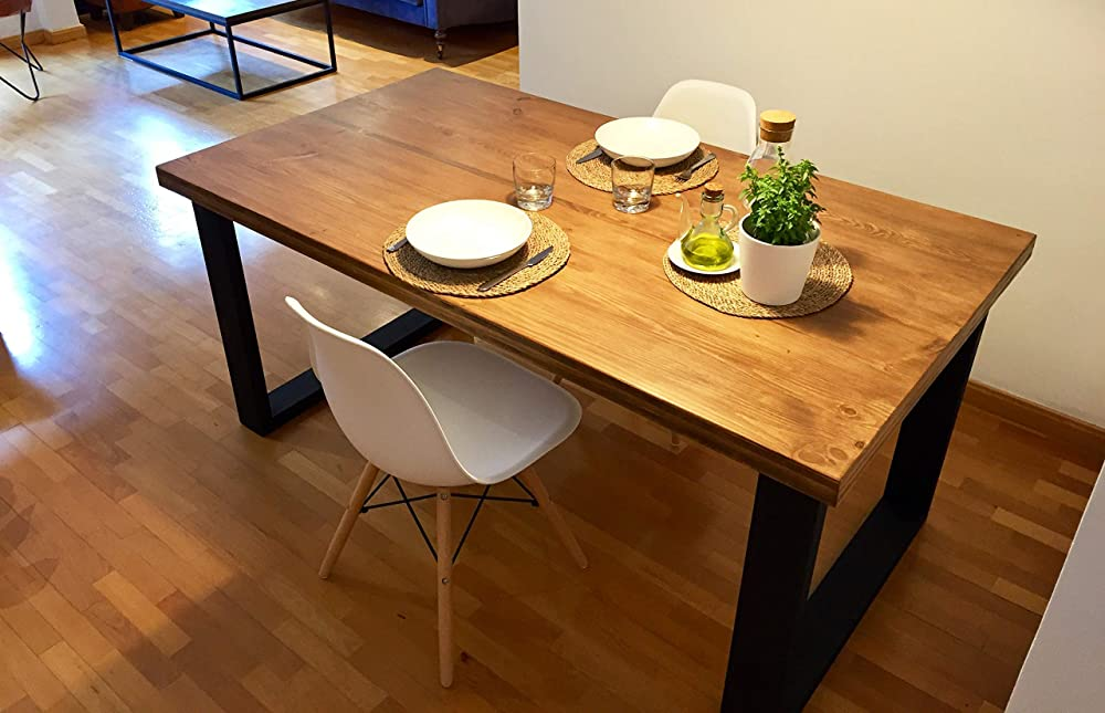Mesa de comedor de madera y hierro estilo industrial: Amazon ...