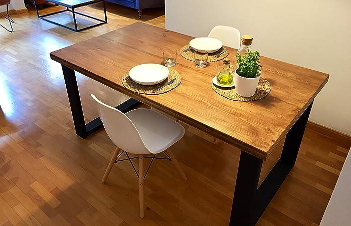Mesa de comedor de madera y hierro estilo industrial: Amazon.es ...