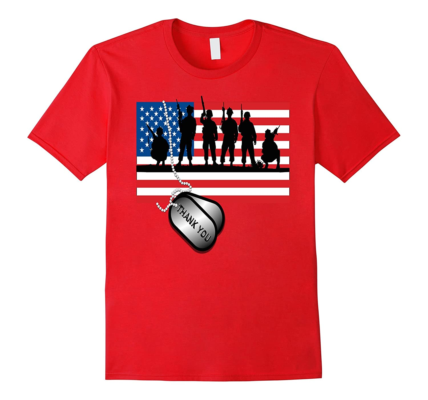USA Soldier Patriotic American Flag Memorial Day T-Shirt-PL