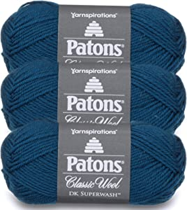 Patons Classic Wool DK Superwash Yarn - Gauge 3 Light - 100% Wool - (3-Pack) - Mallard Teal - for Crochet, Knitting, and Crafting