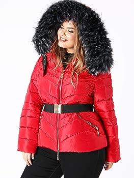 Lovedrobe Women/'s Plus Size Faux Fur Hood Red Padded Coat