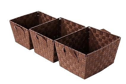 Bon Juvale Woven Storage Baskets   3 Piece Storage Tote Baskets, Woven Strap  Organization Containers