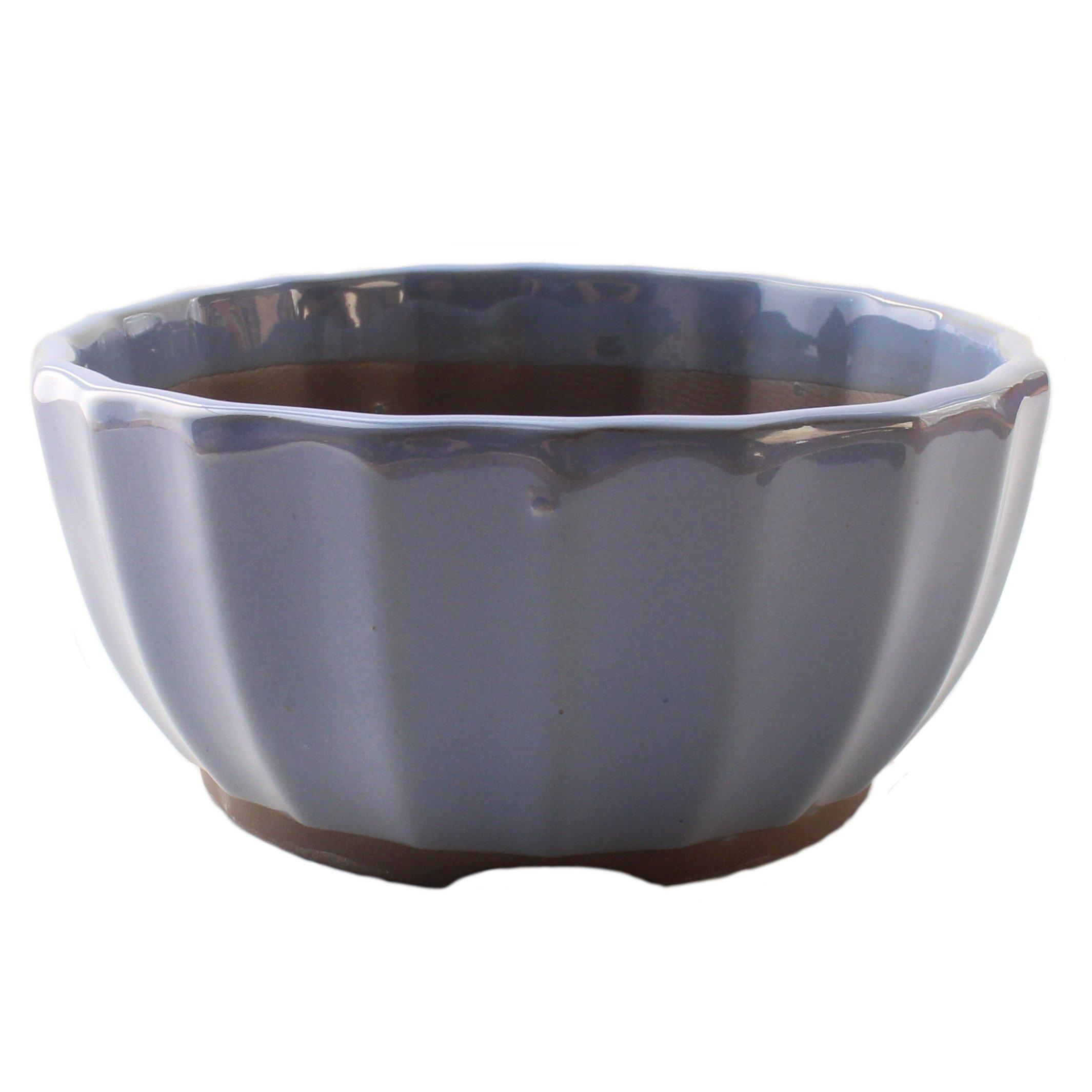 Bonsai Pot Ceramic Chrysanthemum Flower Shape Glazed (6'', Kinyo-Yu)