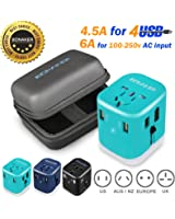 Travel Adapter Universal Travel Adapter 4.5A 4 USB Charging Ports Worldwide All in One Universal Power Converter Wall AC Power Plug Adapter Power Plug Wall Charger Blue by BONAKER