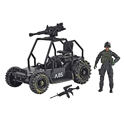 Sunny Days Entertainment Delta Attack Vehicle – Playset with Action Figure and Realistic Accessories | Military Toy Set for Kids – Elite Force: Toys & Games