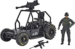 Sunny Days Entertainment Delta Attack Vehicle – Playset with Action Figure and Realistic Accessories   Military Toy Set for Kids – Elite Force