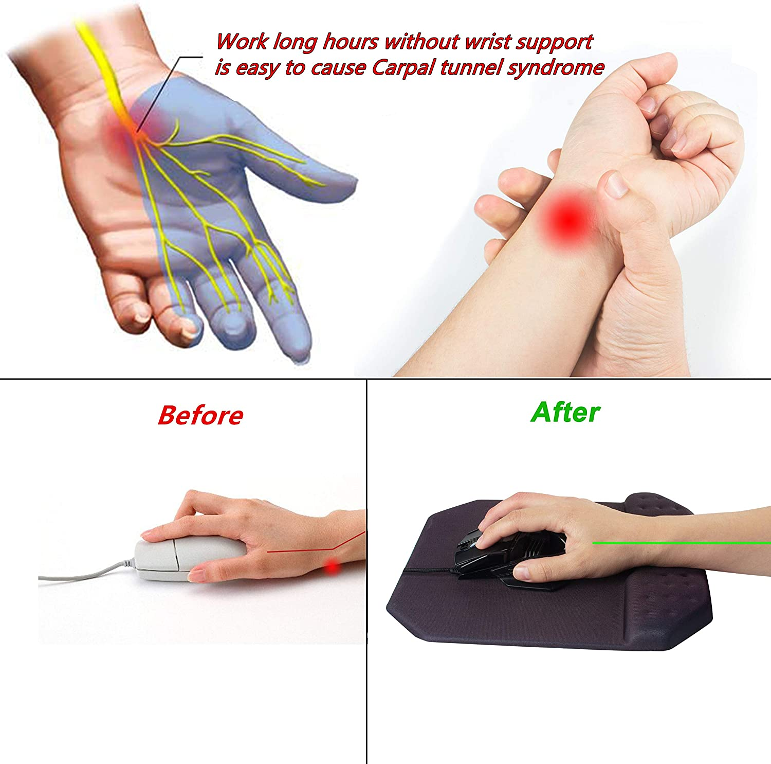 Memory Foam Ergonomic Cushion Large Mouse Mat for Laptop PC Gaming Office Working Office Mouse Pad with Wrist Rest