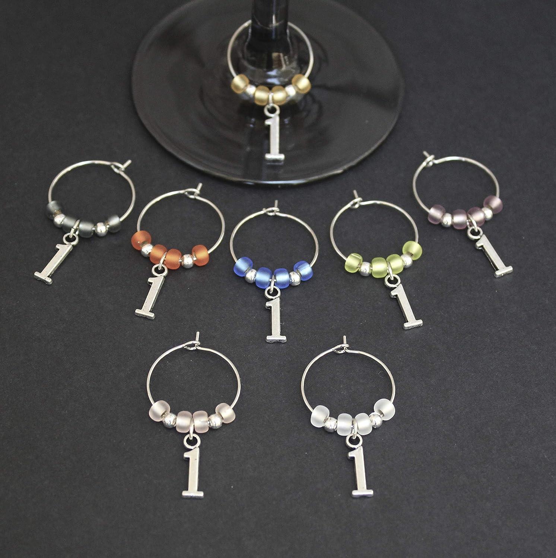 Anniversary-1st ANNIVERSARY-Wine Glass Charms-Set of 8-Anniversary001-8