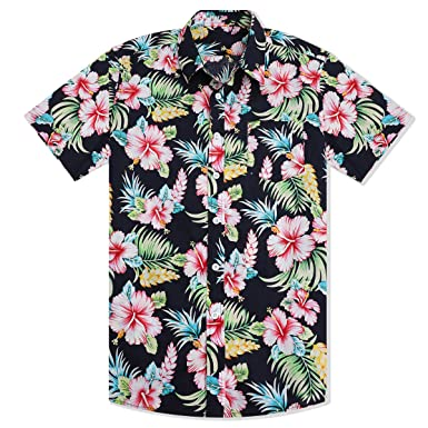177cdafe5 WULFUL Mens Floral Short Sleeve Button Down Slim Fit Print Shirts ...