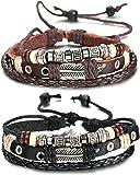 Sailimue Cuir Bracelet pour Homme Tressé Bracelet Ouvert Ajustable, 19-28cm