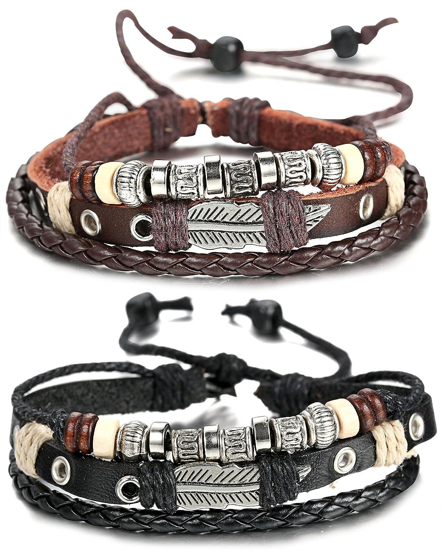 sailimue Cuir Bracelet Homme Tressé Bracelet Ouvert Ajustable, 19-28cm 2pcs DDE-2T04-2PCS