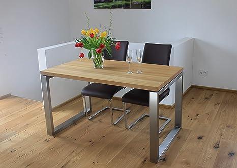 Veikin Design Esstisch Buche Massiv London 250 X 100 Cm Designer Tisch Massivholz Mit Edelstahl Holztisch Metall Stahl Tisch Holz Premium Esszimmertisch Amazon De Kuche Haushalt