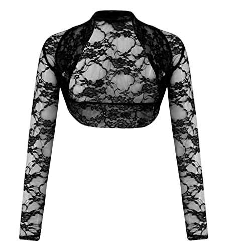 Fashion 4less da donna taglie forti floreale di pizzo bolero Shrug balza crop top