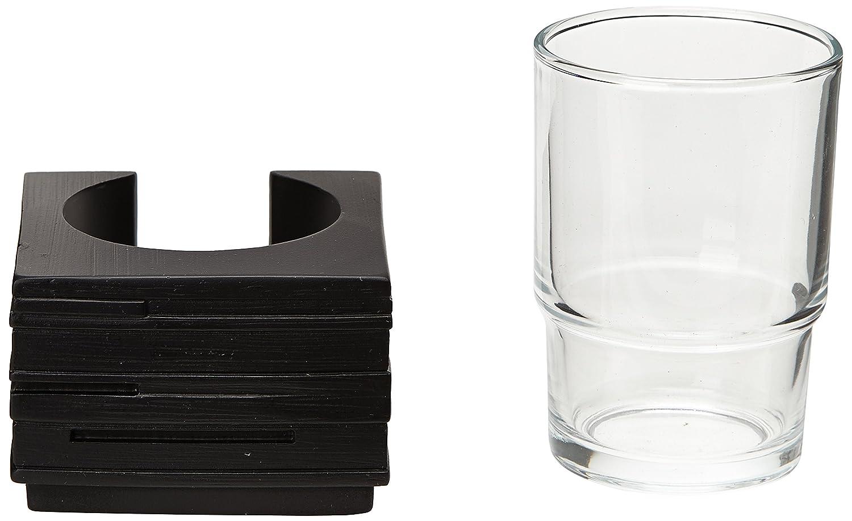 Zeller 18317 Vaso de Enjuague Poli Resina 8.3000000000000007x8.3000000000000007x11.5 cm Negro