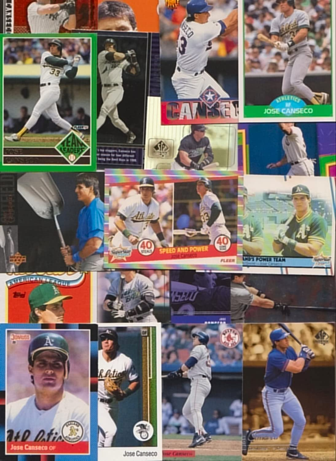 Jose Canseco 50 Different Baseball Cards Featuring Jose Canseco
