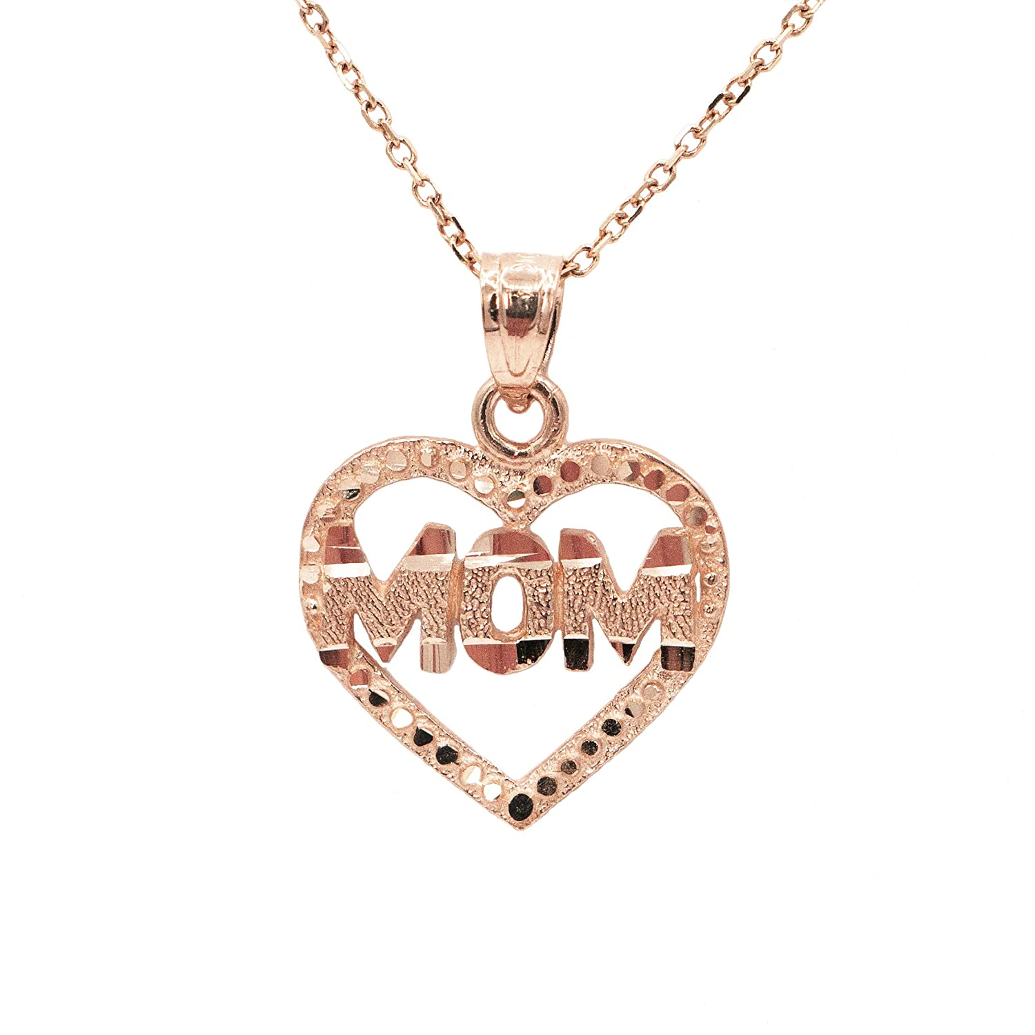 Ice on Fire Jewelry 10k Rose Gold Rose Pendant