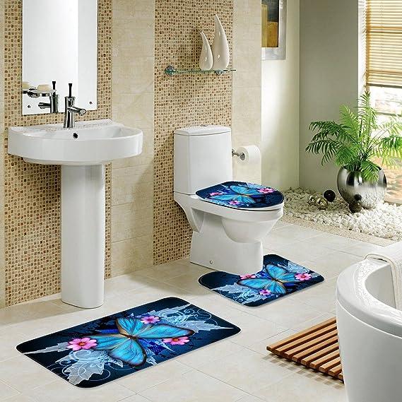 Badgarnitur Toilettenmatte Set Dreiteiliges Bad Dicke Flanell 3D Gedruckt Muster Badezimmer Anti-rutsch-Matte Unteren Kissen Wc Deckel Pad Color : A, Size : L