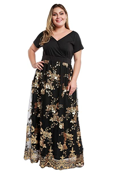 YISIBIA Women\'s Plus Size Dress Short Sleeve Sequin V Neck Empired Waist  Patchwork Casual Maxi Long Dresses