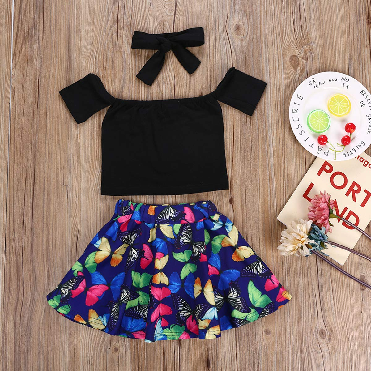 Headband Skirt NOMSOCR Toddler Kids Baby Girls 3Pcs Outfit Clothes Set Off Shoulder Top