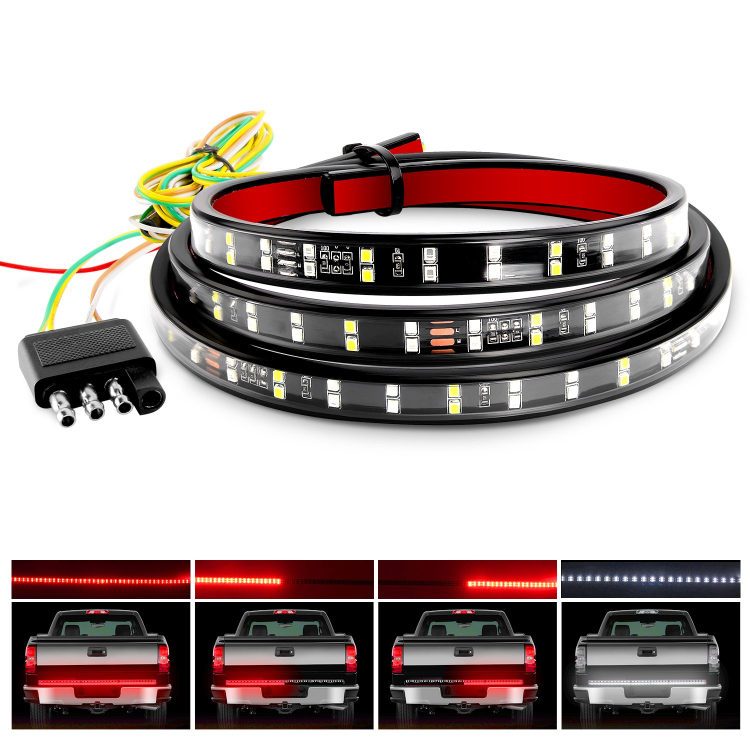 Nilight TR-02 60'' Truck Tailgate Bar Double Row LED Flexible Strip Running Turn Signal Brake Reverse Tail Light,Red/White,No-Drilling by Nilight