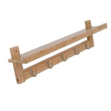 Amazon.com: Pallamila Bamboo Wall Shelf,Coat Hook Rack Unibody ...