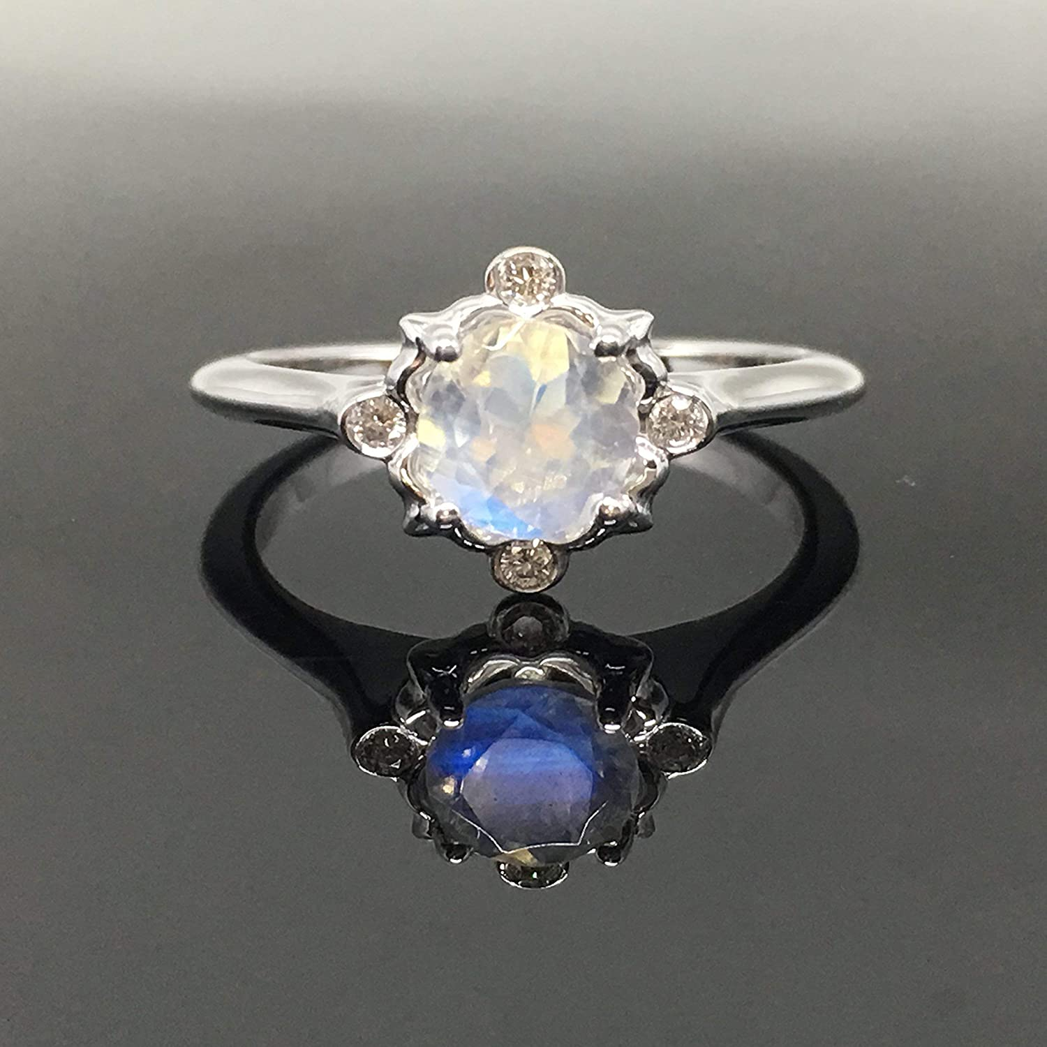 Great Jewelry Greatest Item Gift for Friend 925 Sterling Silver White Rainbow Moonstone Real Gemstones Ring Real Gemstones Round Faceted Rainbow Moonstone Ring