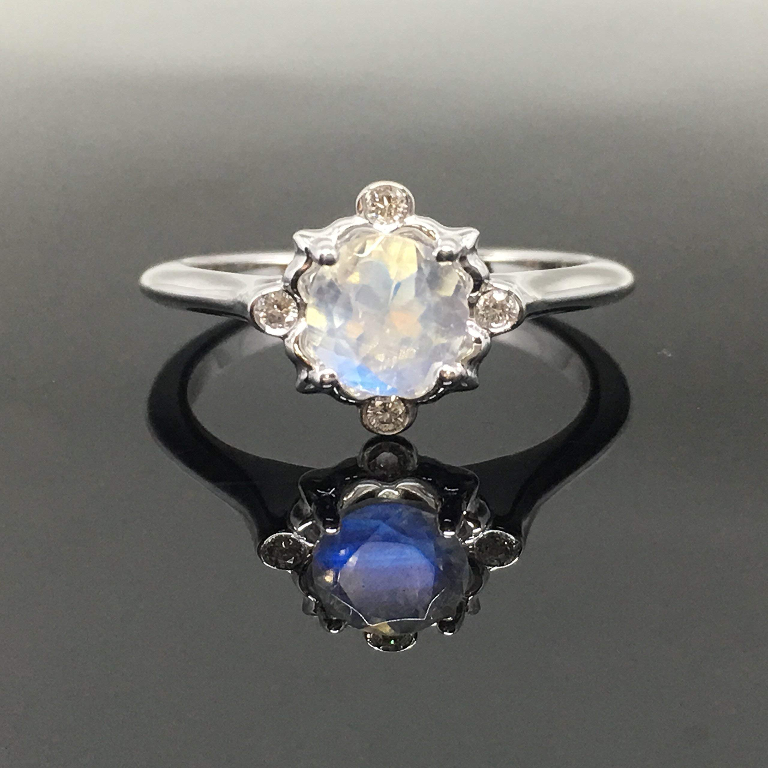 Moonstone Ring Engagement Wedding Anniversary Sterling Silver