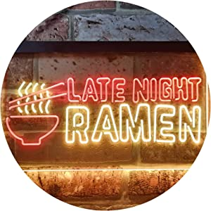ADVPRO Late Night Ramen Japanese Food Dual Color LED Neon Sign Red & Yellow 12