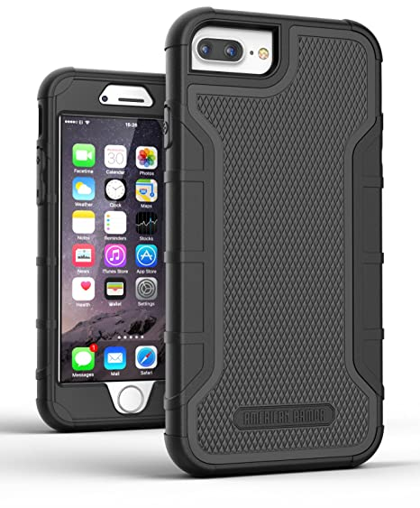 best sneakers 84539 2c89d Encased Heavy Duty iPhone 8 Plus Case with Built in Screen Protector  (American Armor) Rugged Full Body Military Cover (Black)