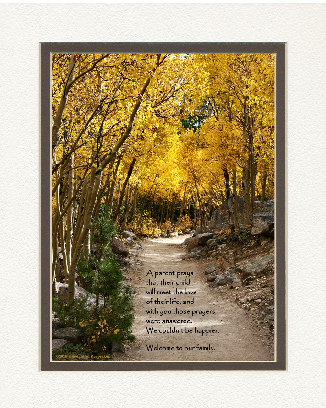 Son-in-law or Daughter-in-law Gift with Welcome to the Family Poem, Special Wedding Gift, Christmas or Birthday Gifts, Aspen Path Photo, 8x10 Double Matted