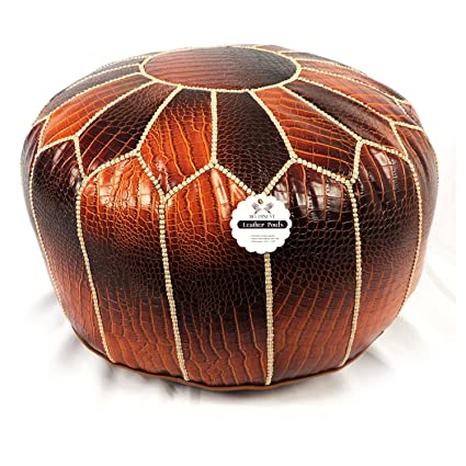 Surprising Beldinest Moroccan Pouf Ottoman Faux Leather Pouf Round Ottoman Leather Pouf Perfect Home Ottoman Footrest Dragon Crocodile Leather Pouf Dailytribune Chair Design For Home Dailytribuneorg