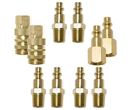 Quick Connect Air Fittings >> Air Fittings Air Hose Connector Air Quick Connect Coupler Plug Kit Industrial Air Fittings 10 Pcs 1 4 Npt Female Brass Air Hose Adapter Air