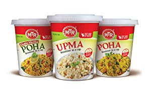 MTR Authentic Indian Breakfast in a Cup Variety Pack Ready in 3 Minutes; 3 Pack:- 1: Poha(Rice Flakes), 2: Khatta Meetha Poha(Sweet Sour Rice Flakes), 3: Upma(Seasoned Samolina; 80G (2.82 Oz) Each Cup