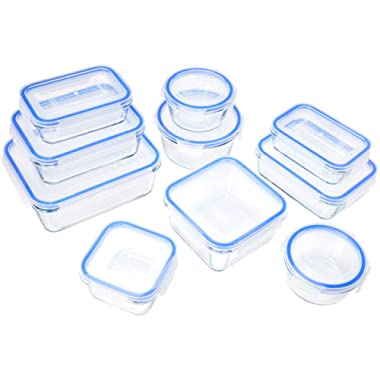 AmazonBasics Glass Locking Lids Food Storage Containers, 20-Piece Set
