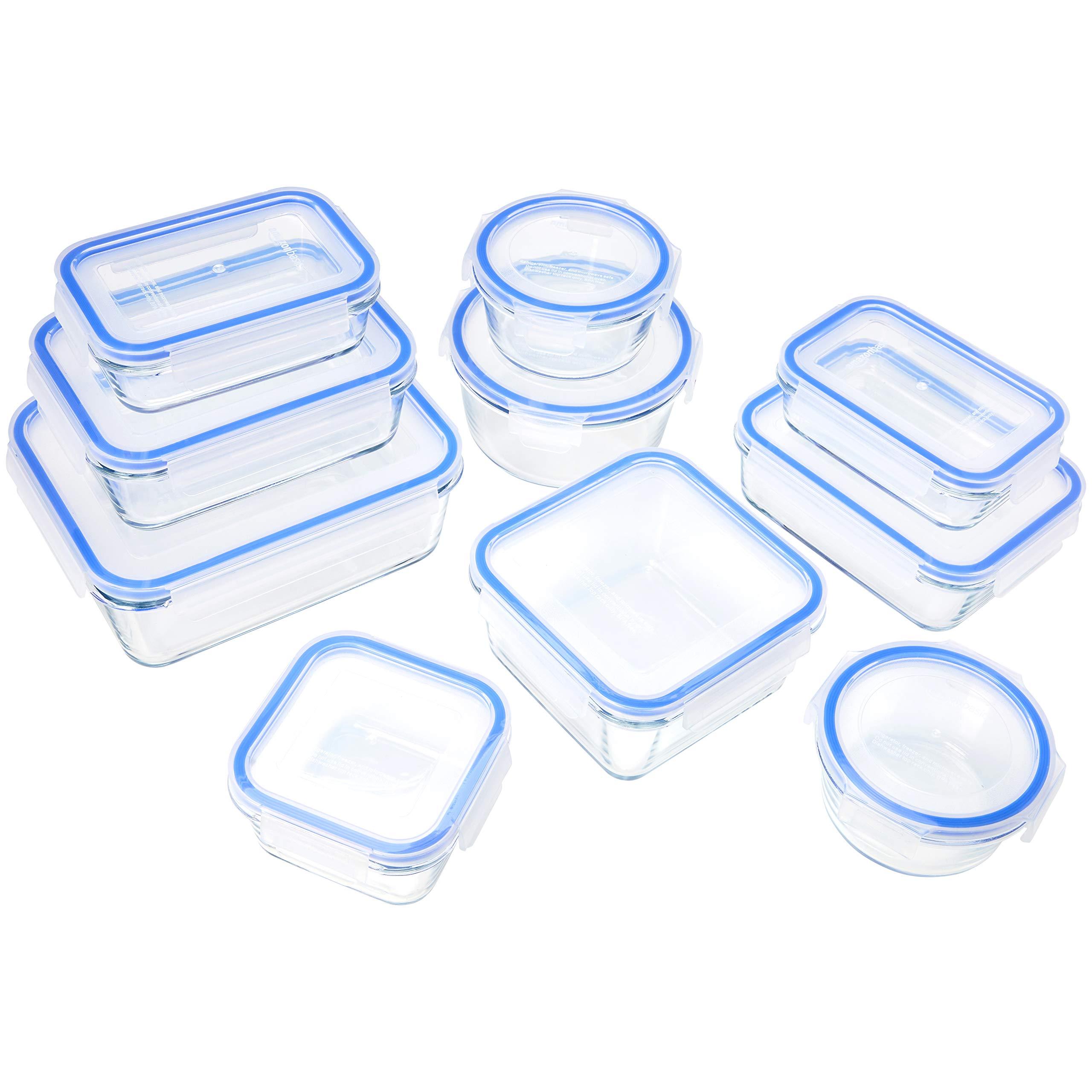 AmazonBasics Glass Locking Food Storage Containers - 20-Piece Set