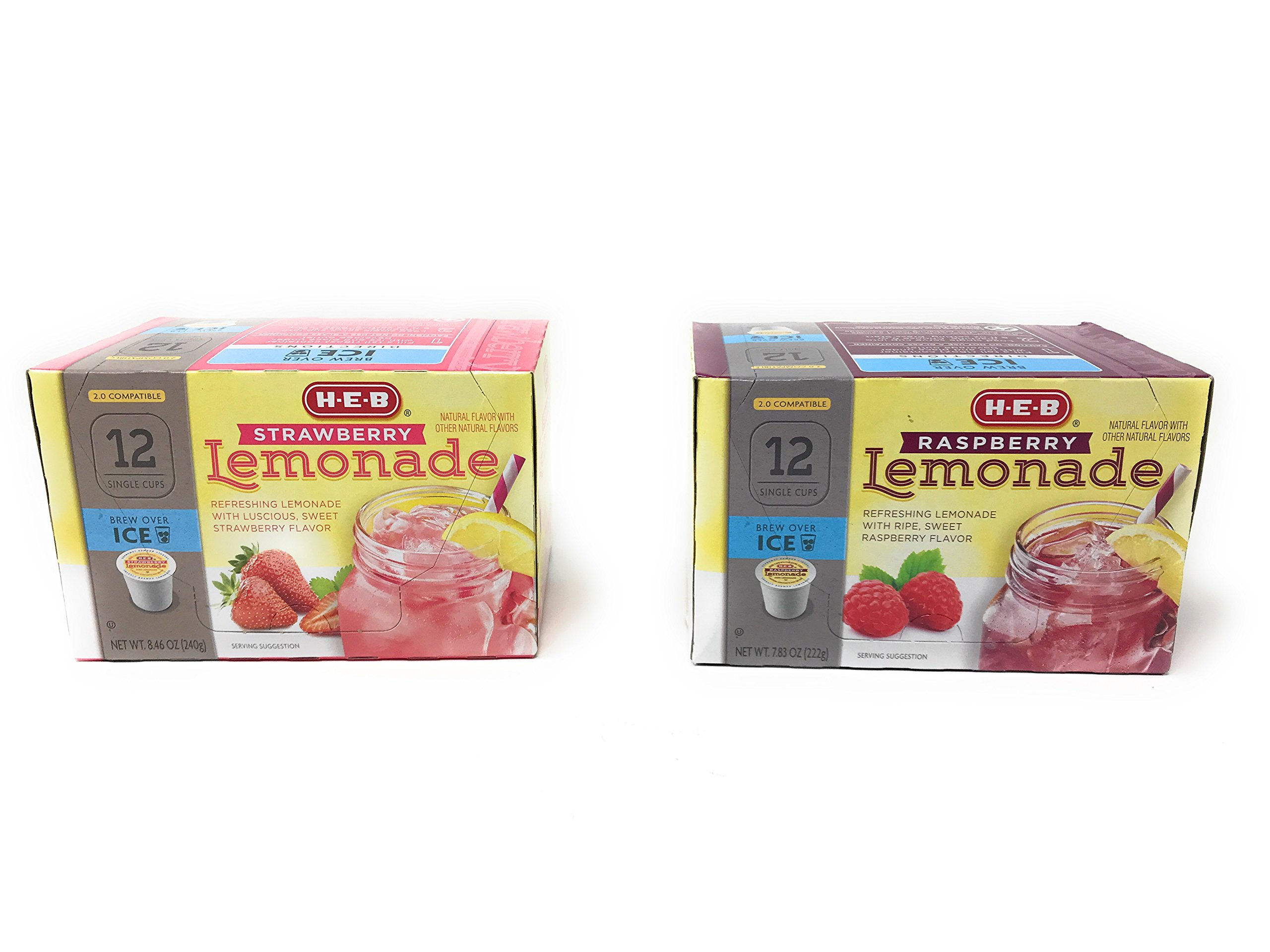 H.E.B Strawberry and Raspberry Lemonade k-cup; 2.0 Compatible - 2 Boxes Variety Pack 12 ct in Each Box