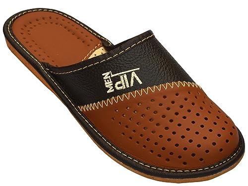 World of Leather - Zapatillas de andar por casa, para hombre ,color marrón: Amazon.es: Zapatos y complementos
