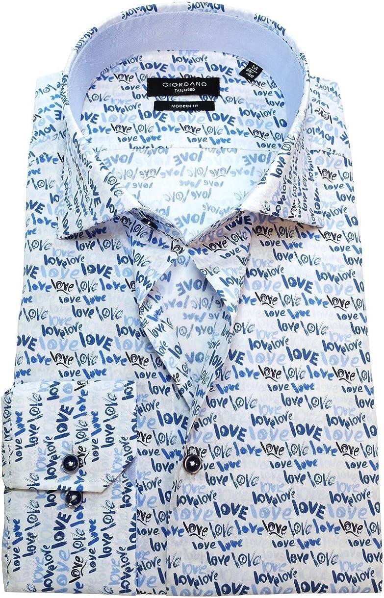 Giordano Camisa de manga larga Modern Fit con texto impreso ...