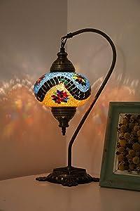 Mosaic SWAN Neck Table Lamps Handmade Unique Turkish Tiffany Moroccan Night Art Home Decor Light Lampshade Bedside Gift Boho Lantern 2 Bulbs Include
