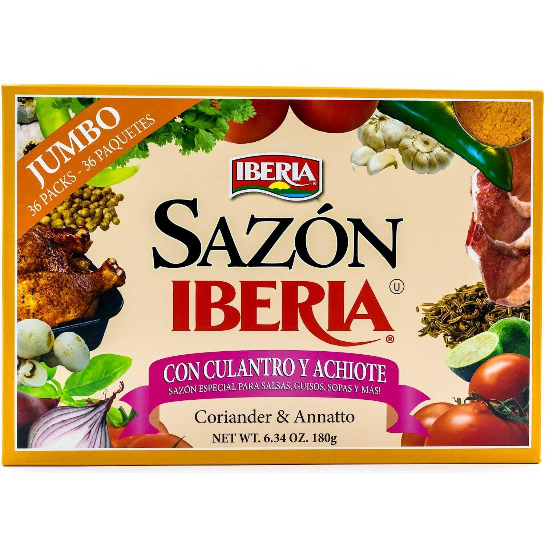 Sazon Iberia Jumbo Pack with Coriander and Achiote 6.34 Oz 36 Packs