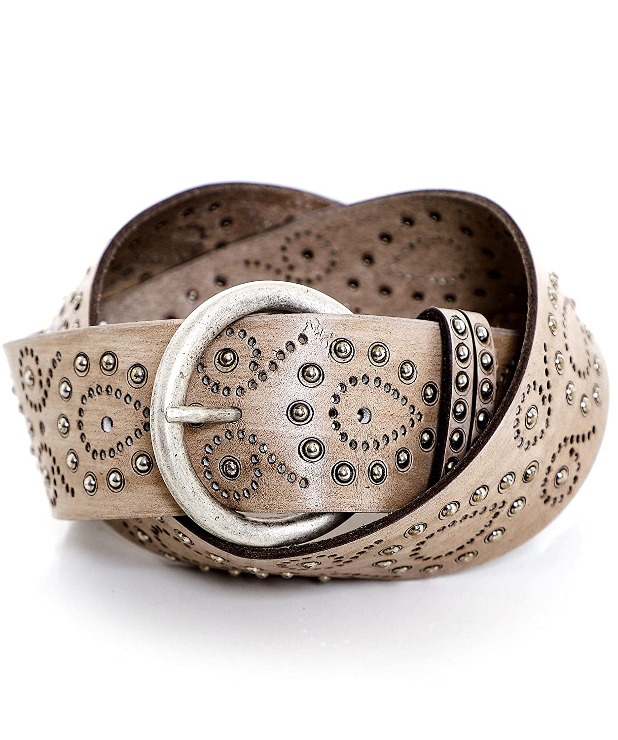 Nanni Womens Painted Studded Leather Belt Light Brown