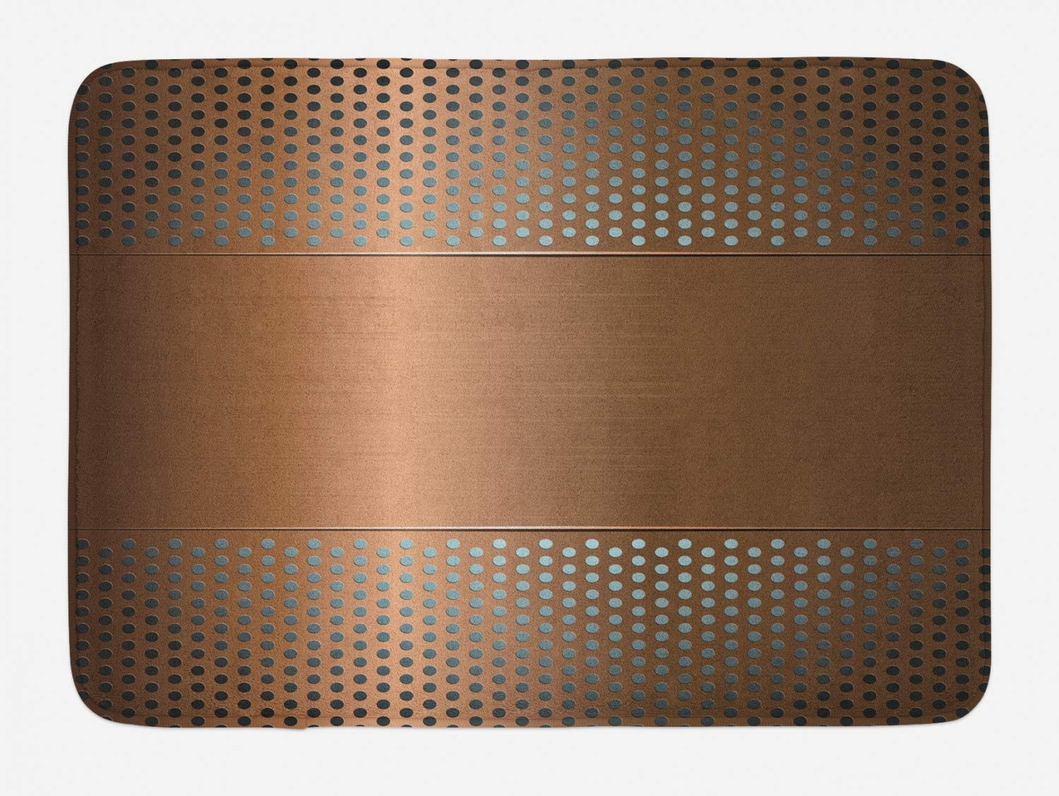 Ambesonne Industrial Bath Mat, Perforated Grid Plate Steel Dots Illustration Futuristic Technology Theme, Plush Bathroom Decor Mat with Non Slip Backing, 29.5
