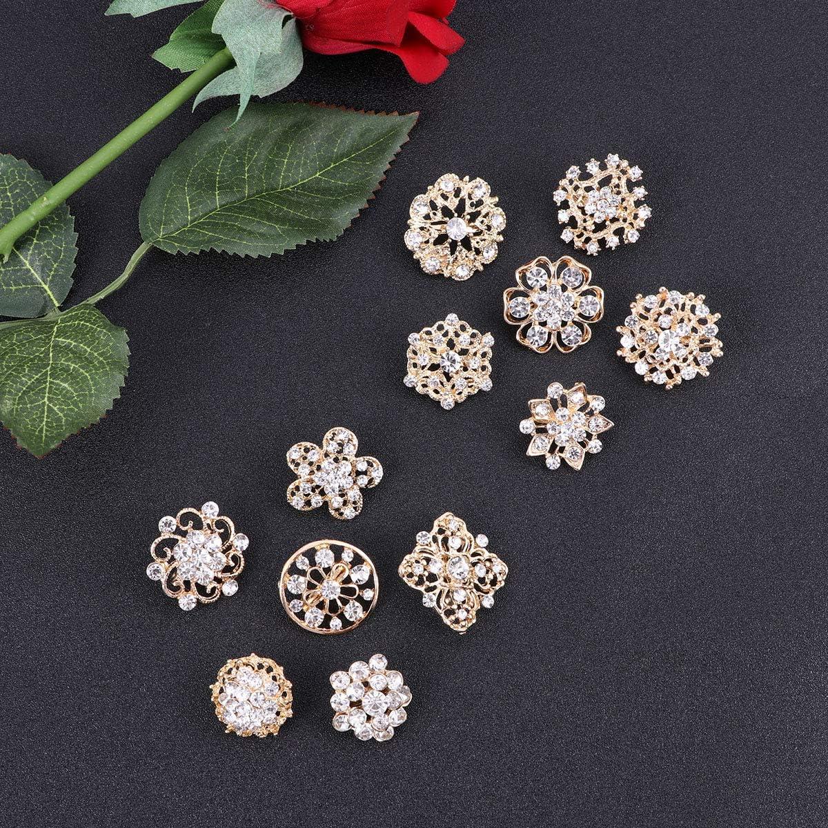 Diamant dor Et Blanc TENDYCOCO 12 Pcs Fleur Cristal Petite Broche Mode Femmes Pins Alliage Pinces /À V/êtements