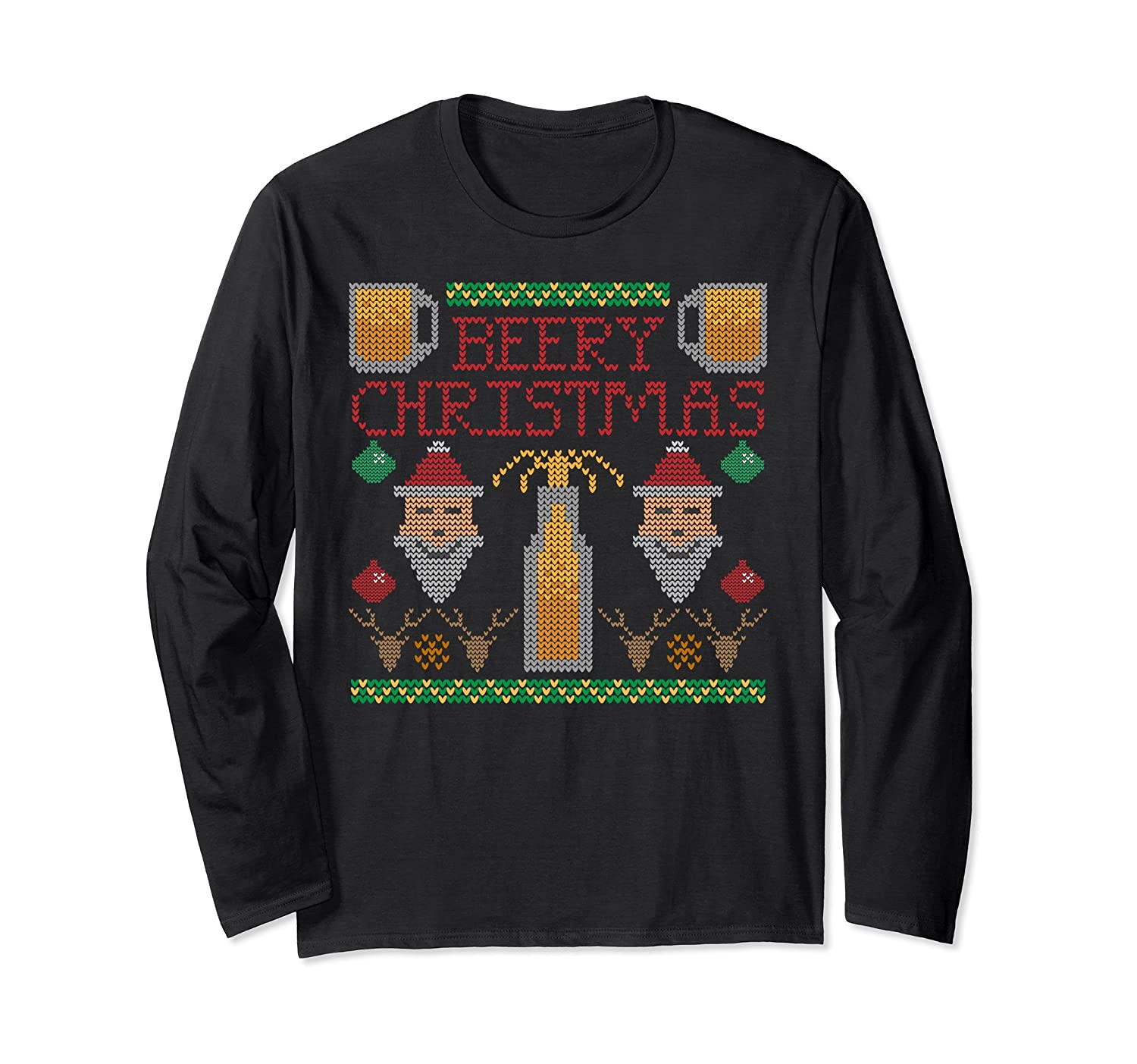 Funny Drinking Beer Ugly Christmas Sweater Long-Sleeve Tee