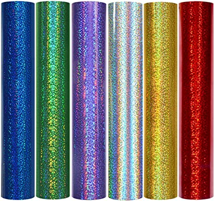TECKWRAP Holographic Sparkle Adhesive Craft Vinyl,1ftx5ft,Red