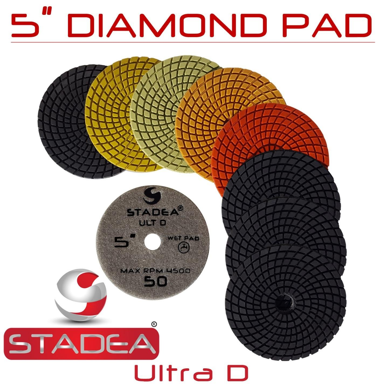 Stadea PPW140X Granite Polishing Pads 5'' Diamond Pads Set For Granite Quartz Stones Polish