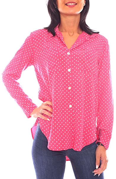 Fragola Moda Camisas - Camisa - Lunares - Clásico - para Mujer Himbeerrot Talla única