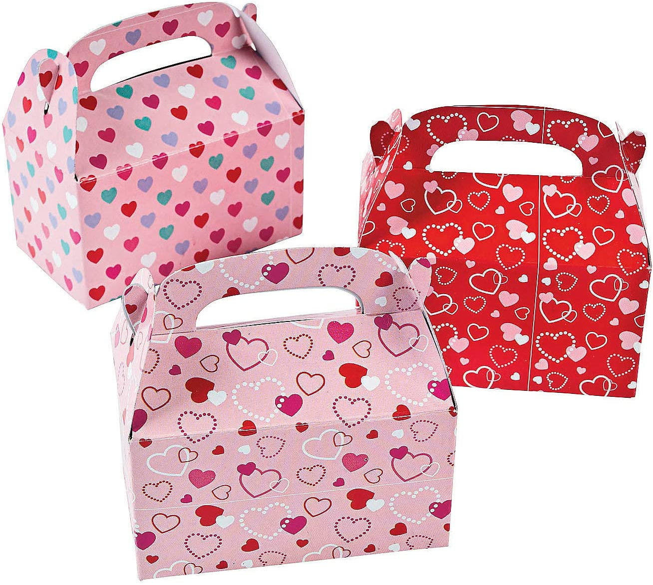 Fun Express Valentine Treat Boxes - Set of 24 Heart Paper Mini Treat Boxes