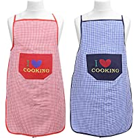Kuber Industries Checkered Design Cotton 2 Pieces Waterproof Apron with Front Pocket (Red and Blue), CTKTC13725